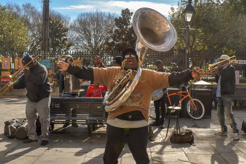 Street jazz band near Jackson Square