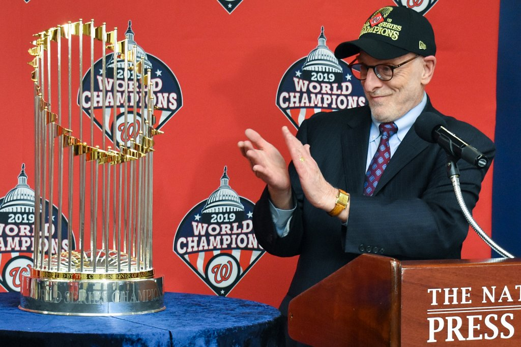 Mike Freedman with World Series trophy
