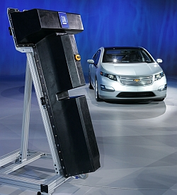 Chevrolet Volt and battery replica (Photo by John F. Martin for General Motors)