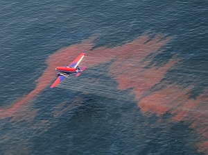 Aircraft spraying dispersants on the BP oil spill (U.S. Coast Guard)