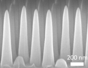 Magnified view of cone-shaped nanostructures in glare- and water-resistant glass (MIT)