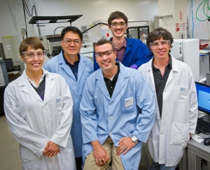 Nathan Hillson, center, with the PaR-PaR development team, from left: Nina Stawski, Changhao Bi, Sean Poust, and Gregory Linshiz. (Roy Kaltschmidt, Lawrence Berkeley National Lab))