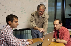 Stanford researchers, from left, Vikash Gilja, Krishna Shenoy, and Paul Nuyujukian (Joel Simon, Stanford University)