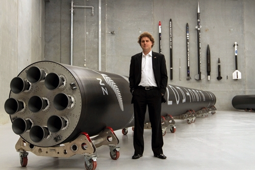 Peter Beck with Electron rocket