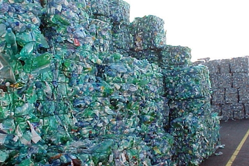 Bales of crushed plastic bottles