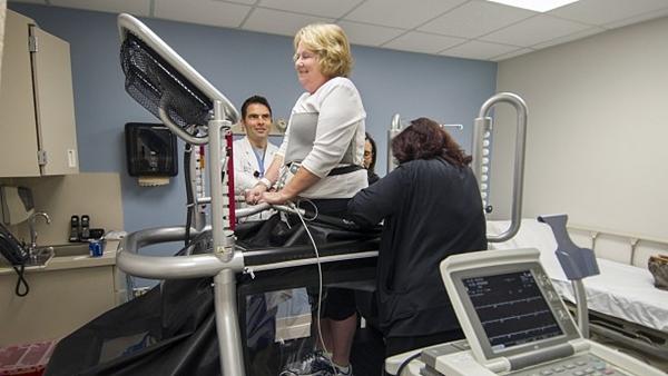 Patient in antigravity treadmill