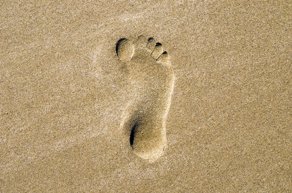 Footprint in sand