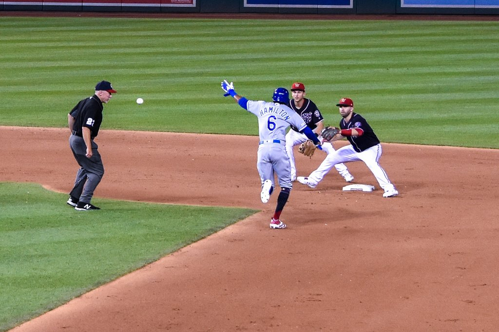 Billy Hamilton caught stealing second.