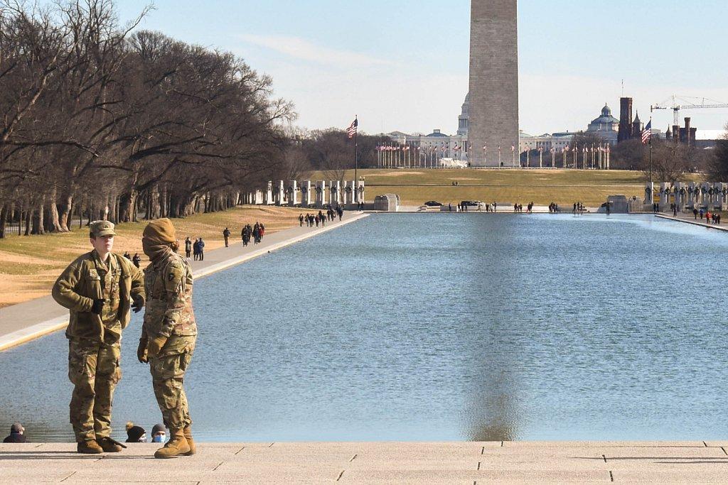 National Guard at reflecting pool