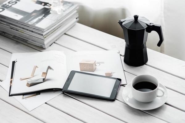 Phone, coffee, book