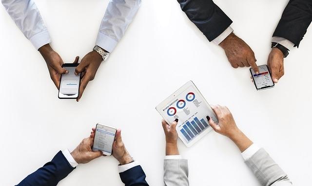 Smartphones in business meeting