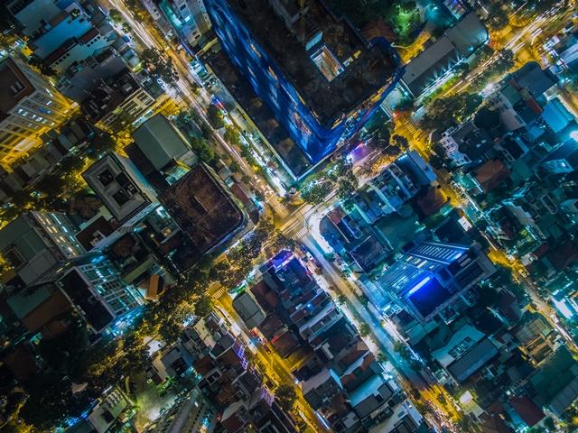City at night, aerial view